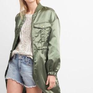 NWT Gap Women's Green Satin Utility Jacket XL